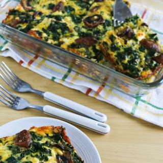 Kale, Mushroom, Feta, and Mozzarella Breakfast Casserole.