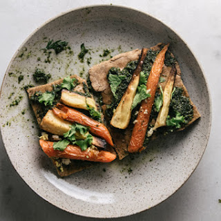 Carrot Top Pesto Flatbread With Roasted Carrots & Parsnips