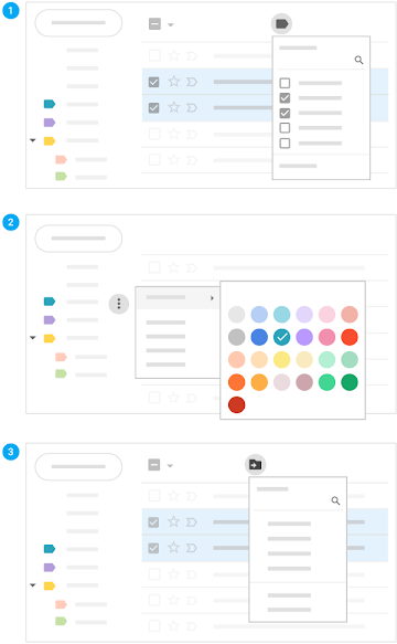 Apply, color-code, and move email to labels