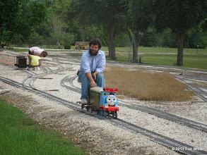 Photo: 1401    Raul Grandes on his Thomas train.    HALS Public Run Day 2013-0921 RPW