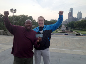 "Photo: Garret Garrels (rt) with a homeless man who helps people take their pictures on the Philly ""Rocky"" steps."