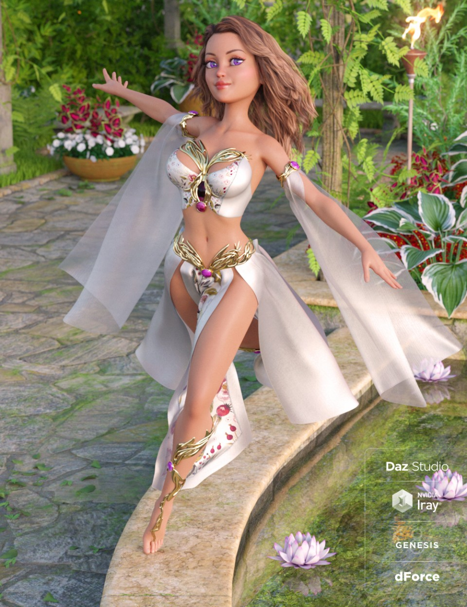 dForce Magical Charm Outfit for Genesis 8 Female(s) in Vendor, Nikisatez,  3D Models by Daz 3D