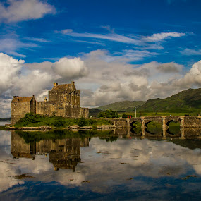 Eilean Donan Castle by Gordon Bain - Buildings & Architecture Public & Historical ( landmark, big skies, calm sea, castle, west highland )