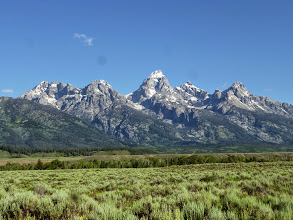 Photo: Day 18 Jackson Hole to Dubois WY 88 miles 4450' climbing: View of Tetons from bike path