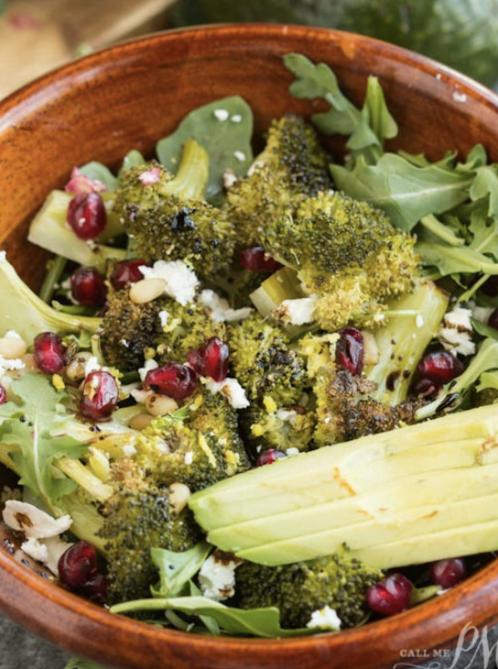 Pomegranate Avocado and Pine Nut Roasted Broccoli Salad