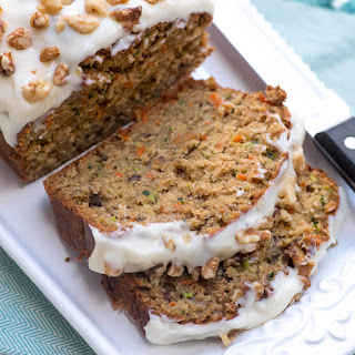 Carrot Zucchini Bread with Cream Cheese Walnut Frosting.