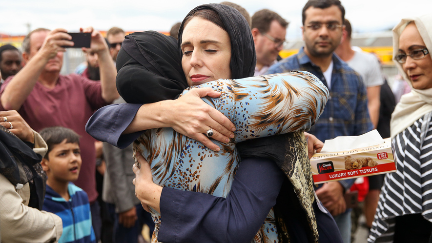 Image 1. New Zealand's Prime Minister Jacinda Ardern hugs a mosque-goer at the Kilbirnie Mosque on March 17, 2019 in Wellington, New Zealand following shooting attacks on two mosques in Christchurch on Friday, 15 March. Photo by: Hagen Hopkins/Getty Images