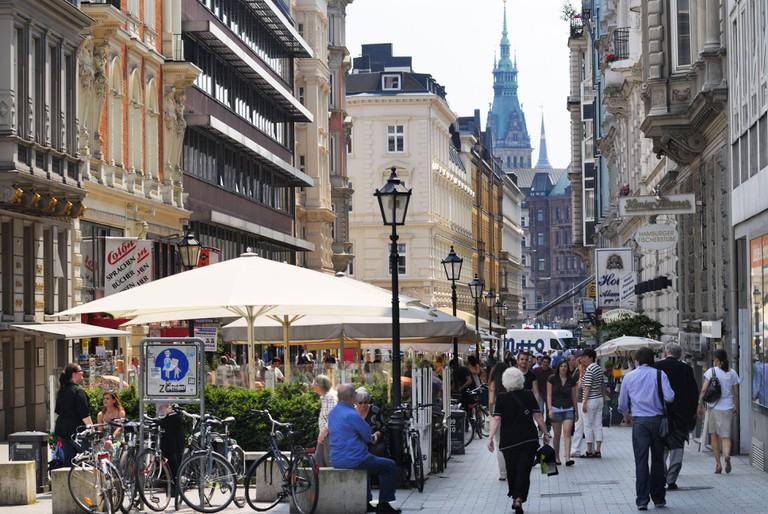 Shopping street Colonnaden in Hamburg, Germany.