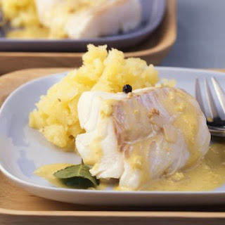Firm White Fish with Sauce and Mash
