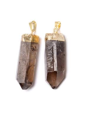Rökkvarts, naturligt spetshänge i guldfolieinfattning