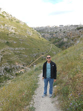 Photo: Me again, this time on the path headed down from the top of the cliff opposite Matera.