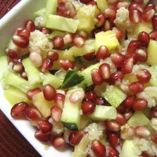 Pomegranate & Broken Wheat Salad With Mint-Ginger Dressing.