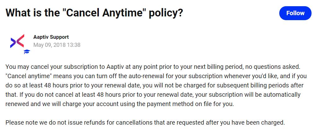 adaptiv cancellation policy