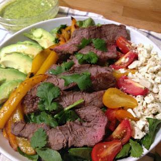 Steak Salad with Cilantro Avocado Dressing.