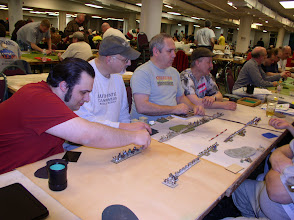 Photo: Pyramid Tourney in Pyramid Times - Cold Wars 2012 (from left to right) Alex Halkiadakis - Ugaritic, Bruce Rzengota - Early Bedouin, Terence McPartland - Hittite Empire, Rich Baier - Gasgans.
