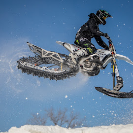 Snowbike Cross by Kenton Knutson - Sports & Fitness Motorsports ( motorcycle, racing, snow, motocross, winter, snowbike )