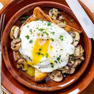 Mushroom Toast with Fried Egg.