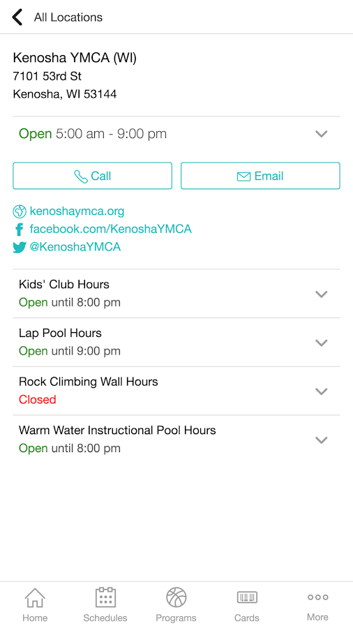 Kenosha YMCA- screenshot