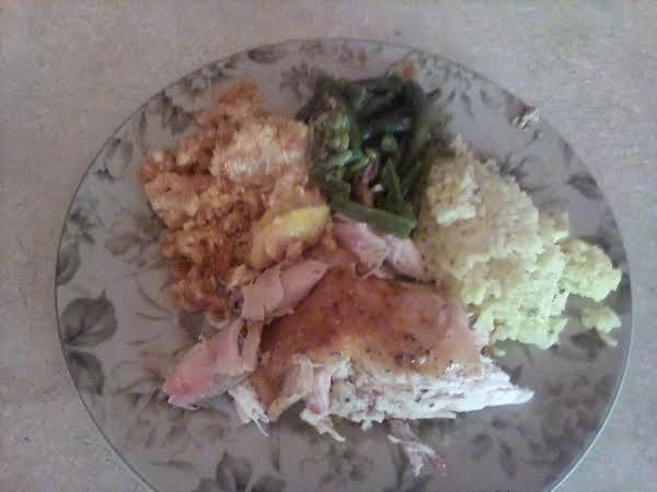 Baked Chicken. Yellow Squash Casserole. Green Beans . Chicken Rice.