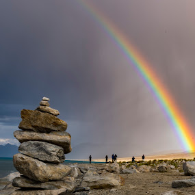 Rainbow by Santanu Majumder - Landscapes Cloud Formations ( rainbow, nature, pangong tso, india, ladakh )