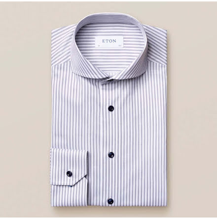 ETON Navy striped signature twill contemporary fit