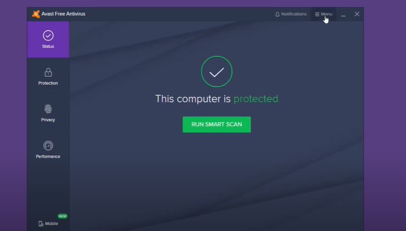 """Click on """"Menu."""" You'll find it in the upper-right corner in the main window of Avast."""