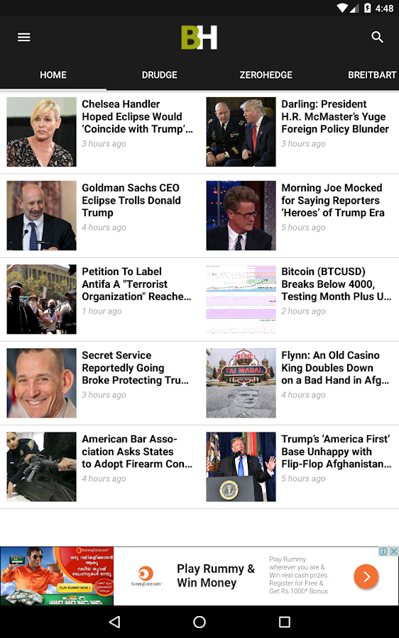 Breitbart + Drudge Report + ZeroHedge + Fox News- screenshot