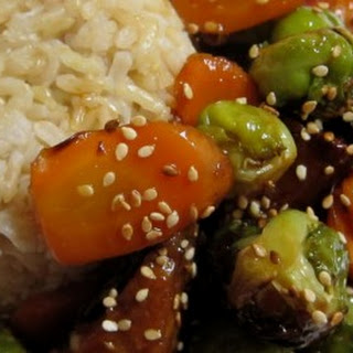 Sesame Tempeh with Roasted Brussels Sprouts and Carrots.
