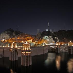 Hoover Dam by Jud Joyce - Landscapes Travel ( lights, water, night photography, nevada, dams, arizona, low light )