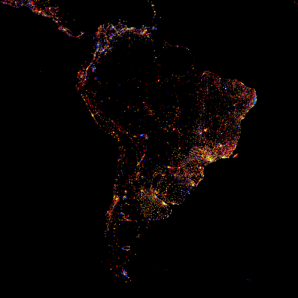 Photo: South America at night, showing the change in illumination from 1993-2003. This data is based on satellite observations. Lights are colour-coded. Red lights appeared during that period. Orange and yellow areas are regions of high and low intensity lighting respectively that increased in brightness over the ten years. Grey areas are unchanged. Pale blue and dark blue areas are of low and high intensity lighting that decreased in brightness. Very dark blue areas were present in 1993 and had disappeared by 2003. The abundance of red and yellow on the map shows that nights are getting brighter in many areas, reflecting the urbanisation and industrialisation of the region.