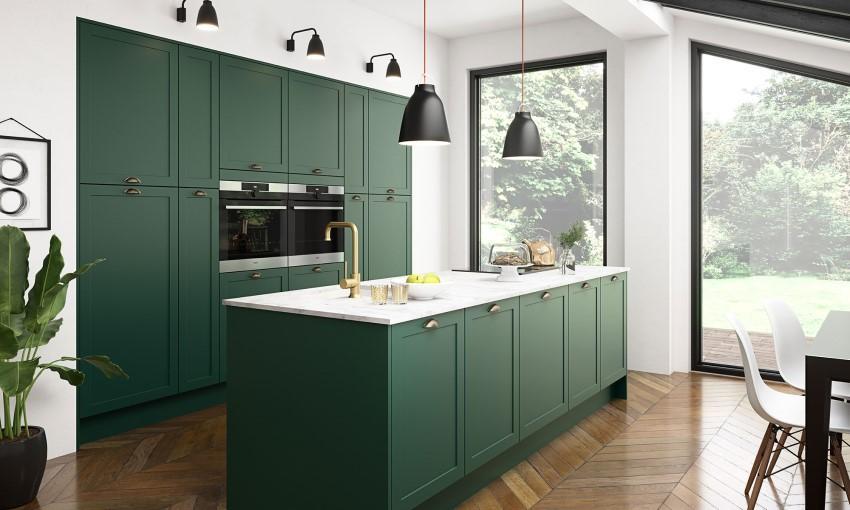 Nhà bếp được trang trí với sắc xanh giúp thu hút tài lộc