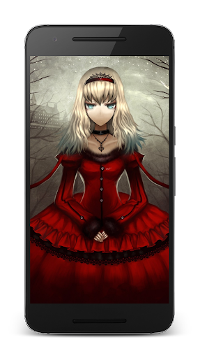 Goth Anime Red Dress Wallpaper