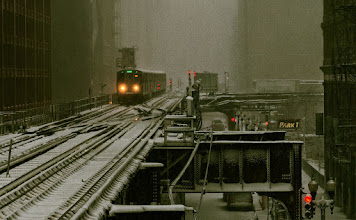 """Photo: From the """"L"""" platform in Chicago during an early morning snowstorm. #snow #train #chicago"""