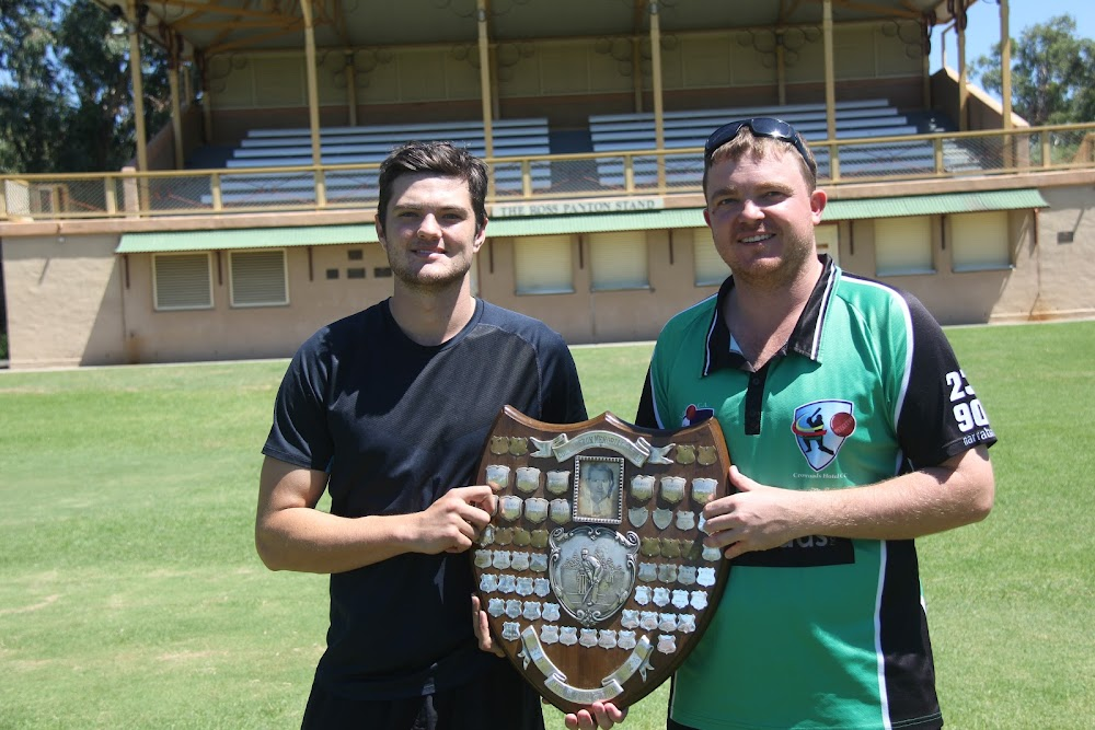Captains Jake Packer (Tatts) and Luke Meppem (Crossroads Hotel) are ready for the 2016-17 first grade cricket grand final this Saturday. Crossroads has a chance to get a double, with its second XI also in contention against Civeo in the second grade final.