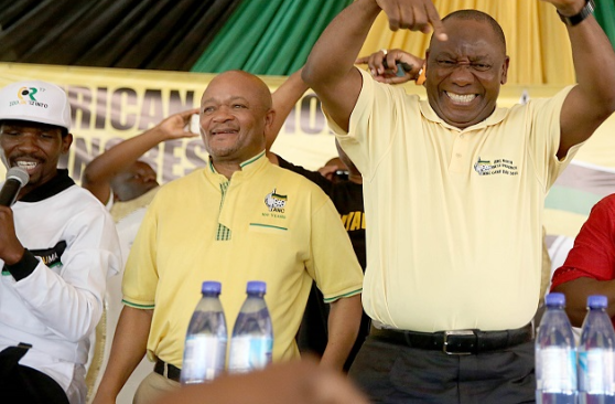 Senzo Mchunu, Cyril Ramaphosa and Edwin Mkhize at the ANC rally in Ezibukweni Sports Field in Jozini. Picture: THULI DLAMINI