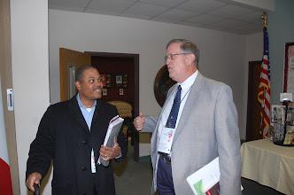 Photo: Regional Moderator Jabari Butler conferes with Sandersville pastor Doug Ivey