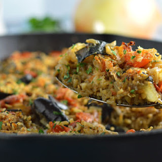 One Pot Greek Eggplant and Rice