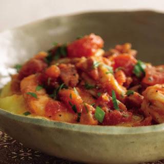 Garlic Shrimp and Arugula Over Polenta