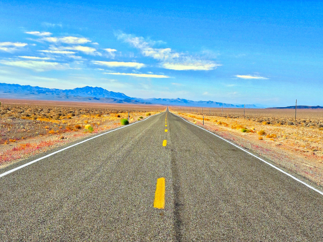 long view of a road