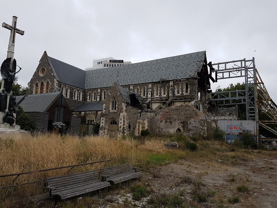 Christchurch Cathedral in ruins