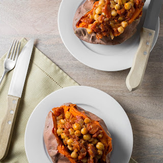 Sweet Potatoes with Chickpea Tomato Sauce.