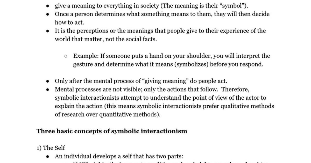 Symbolic Interactionism Ppt Text Google Docs