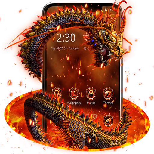 Red Yellow Fire Dragon Theme Android APK Download Free By Dream World