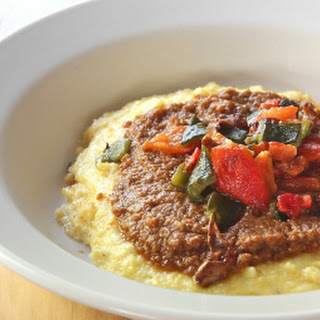 Cheesy Polenta + Mole & Pepper Relish