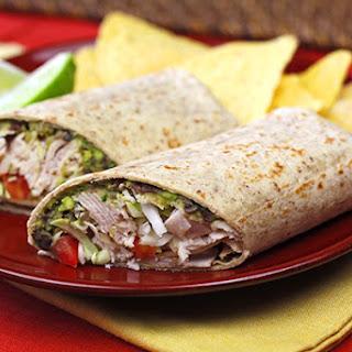Spicy Black Bean & Avocado Turkey Wrap.