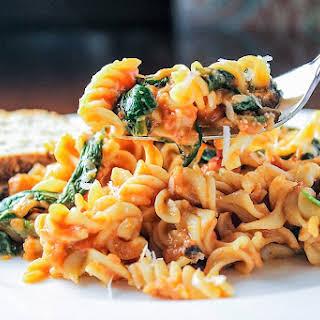 Cheesy Tomato Spinach Olive Pasta.
