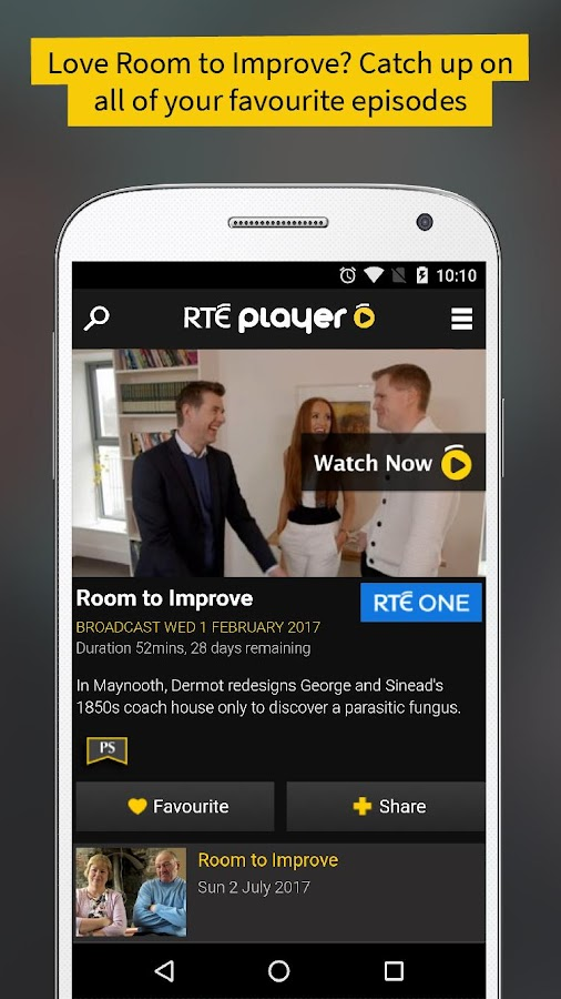 RTÉ Player: captura de pantalla