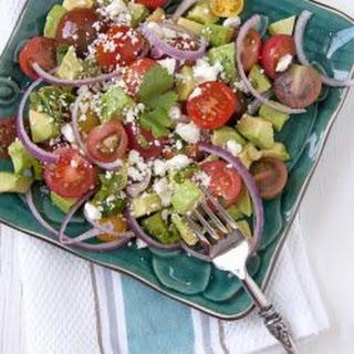 Avocado and Tomato Salad with Feta Cheese.