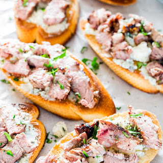 Blue Cheese and Steak Crostini.