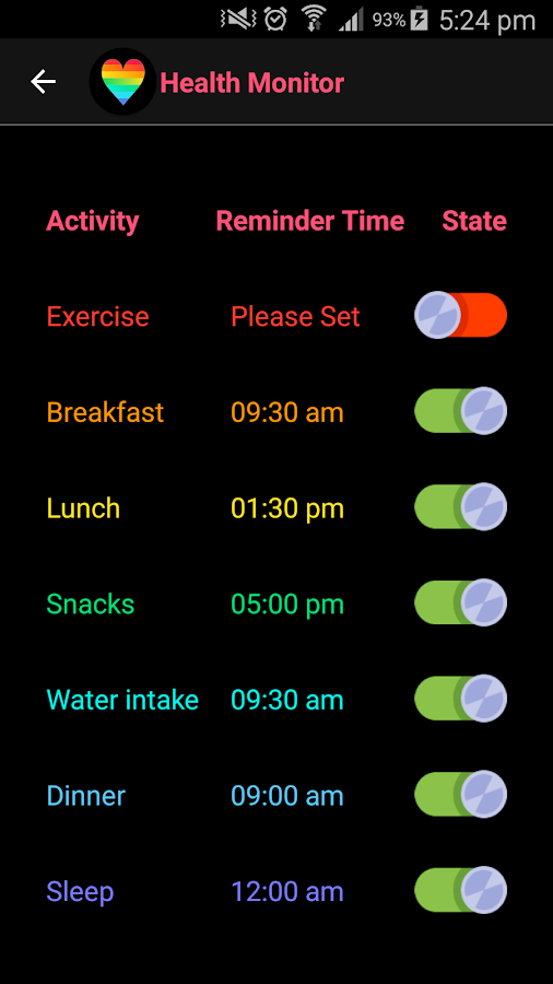 Health Monitor- screenshot